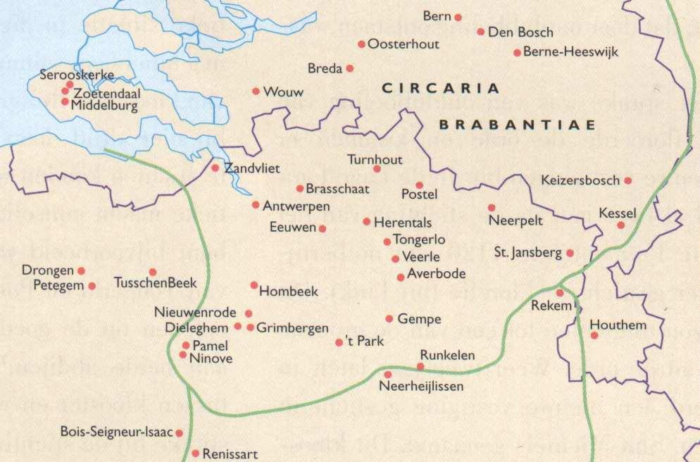Kaart van de Nederlanden waarop alle stichtingen zijn aangegeven