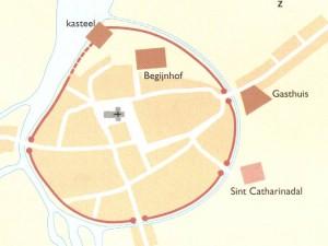 De stad Breda in de 14e eeuw. In rood aangegeven de stadsmuren. Ook zijn de bestaande straten aangegeven in wit.