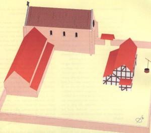 Driedimensionale reconstructie van de oudste fase van het klooster St. Catharinadal in Breda (begin 14e eeuw)