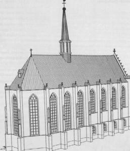 Reconstructietekening van de 16e eeuwse kloosterkerk door Van der Veken