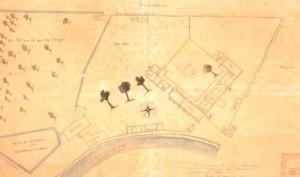 lattegrond van het klooster St. Catharinadal uit 1882, naar een verloren gegaan origineel uit 1646. Collectie Breda's museum